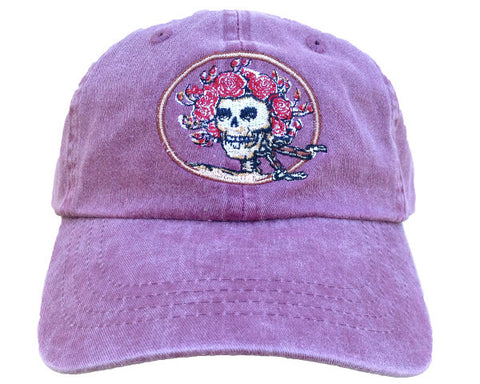 Skull And Roses Faded Maroon Hat