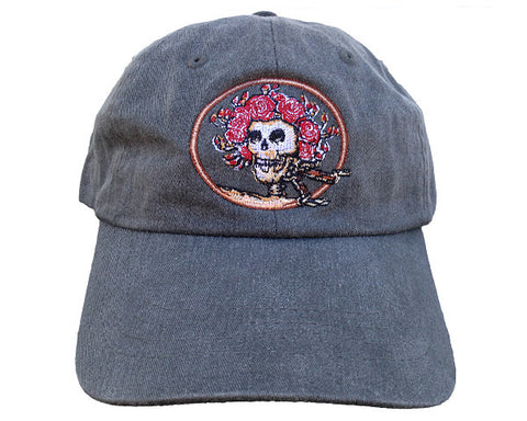 Skull And Roses Blue Hat
