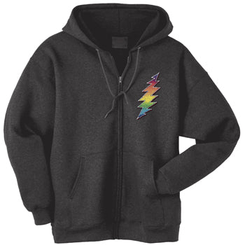 Rainbow Bolt black zippered sweatshirt