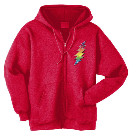 Rainbow Bolt red zippered sweatshirt