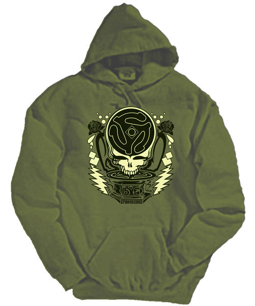 Spun Dead green hooded sweatshirt