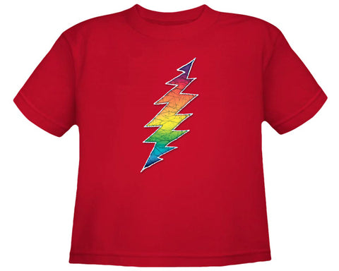 Rainbow Bolt red youth shirt