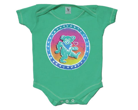Bear Of Hearts green onesie
