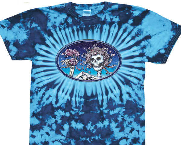Skull And Roses Oval tie-dye T-shirt
