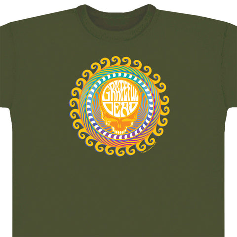 Orange Sunshine teal T-shirt