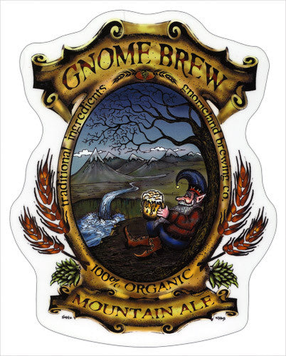Gnome Brew Label die-cut decal