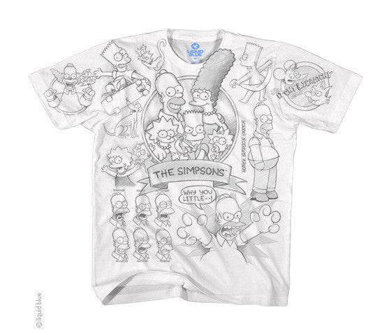 Simpsons Sketch white T-shirt