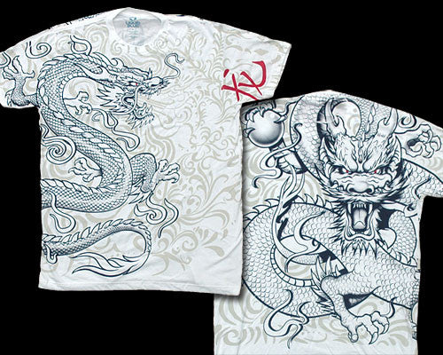 White Chinese Dragon white ringspun T-shirt