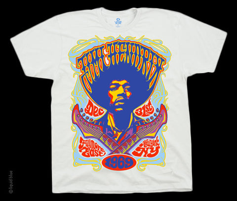 Hendrix Fillmore 69 white athletic fit T-shirt