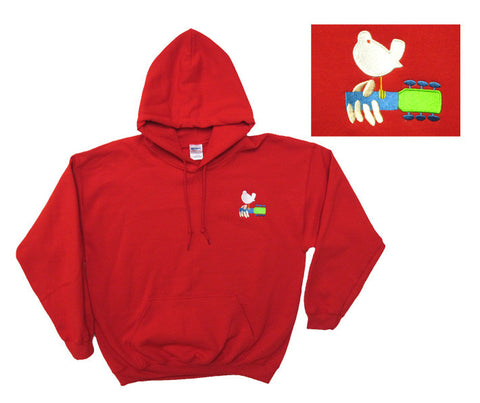 Woodstock Poster Embroidered red hooded sweatshirt