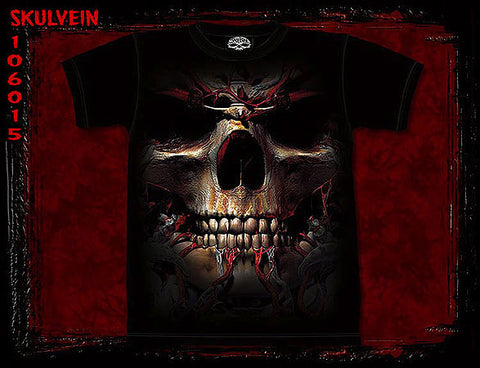 Skull Vein mottled dye T-shirt - L