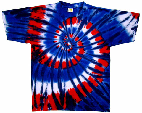 Red Wild & Blue Spiral tie-dye T-shirt