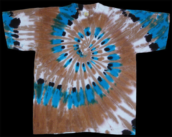 Turquoise Feather Spiral tie-dye T-shirt