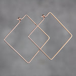 14k rose gold filled handwired square hoop earring handmade US free shipping Anni Designs