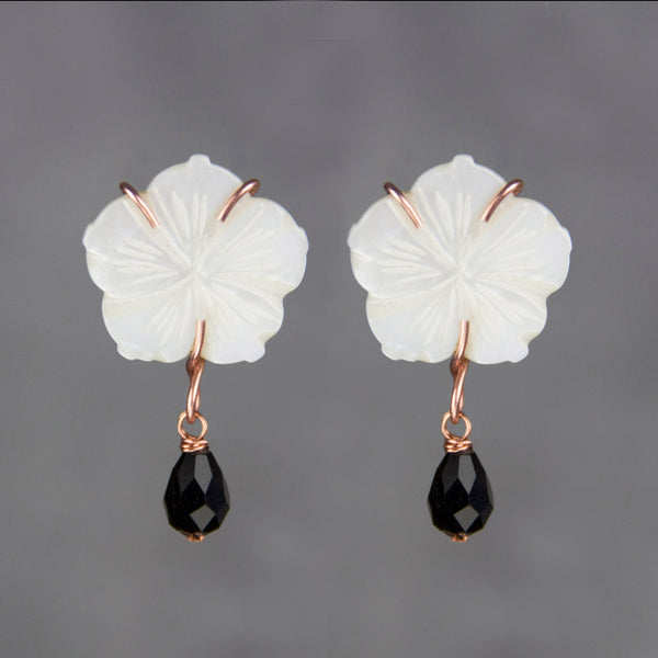 Hawaii Mother of pearl flower teardrop statement drop earrings anni designs free US shipping - Anni Designs