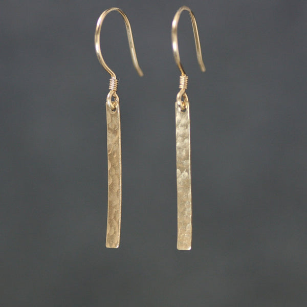 14k gold filled hammered texture Linear long stick dangling earrings Bridesmaid gifts Free US Shipping handmade Anni designs - Anni Designs