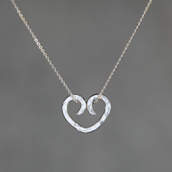 Valentines gift silver heart pendant necklace Bridesmaids gifts Free US Shipping handmade Anni Designs - Anni Designs
