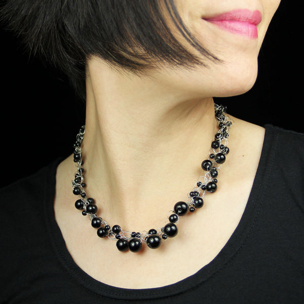 Black onyx chunky crocheted collar choker statement necklace bridesmaids gifts Free US Shipping handmade Anni designs - Anni Designs