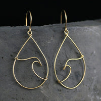 Ocean wave tear drop 14k gold filled wiring hoop earring handmade US freeshipping Anni Designs - Anni Designs