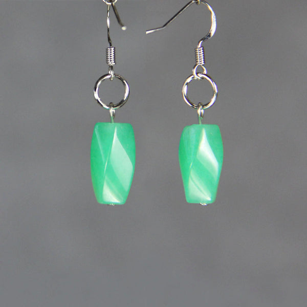 Earrings dangle drop hoop jade green loop Bridesmaids gifts Free US Shipping handmade Anni Designs - Anni Designs