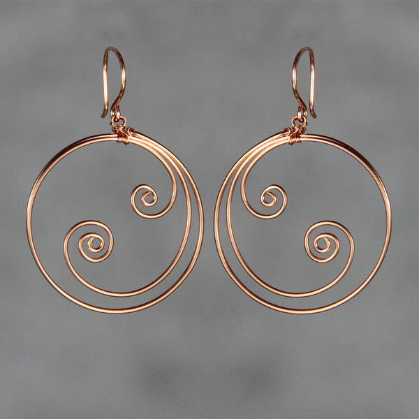 Ocean wave double scroll 14k rose gold filled wiring hoop Earrings Bridesmaid gifts Free US Shipping handmade Anni designs - Anni Designs