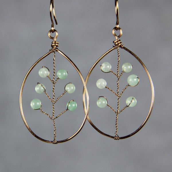 Gun metal wiring jade leaf earrings Free US Shipping handmade Anni designs - Anni Designs