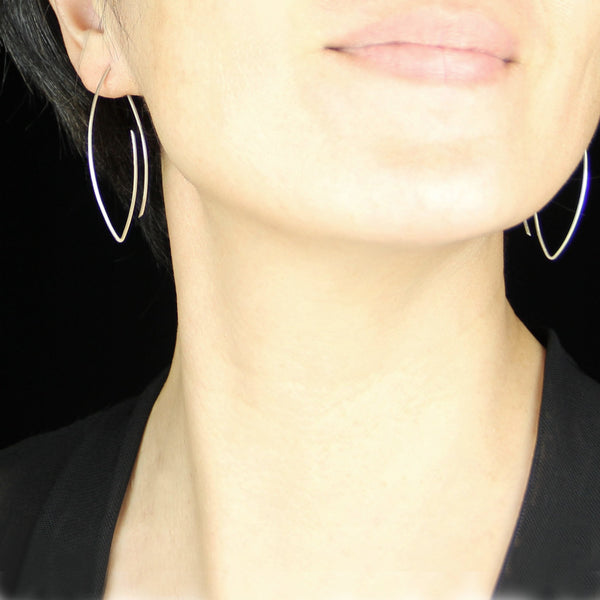 Sterling silver oval hoop earrings   Free US Shipping handmade Anni designs - Anni Designs