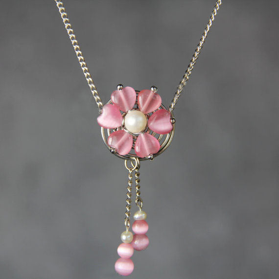 Pink flower cat eye pearl collar necklace Bridesmaid gifts Free US Shipping handmade Anni designs - Anni Designs