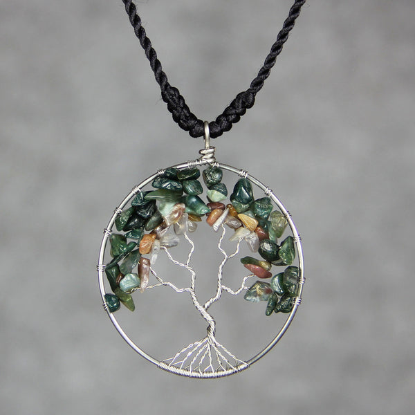 Agate tree of life branch wiring pendant necklace Free US Shipping handmade Anni Designs - Anni Designs