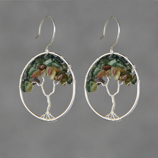 Tree of life Fancy jasper oval hoop dangle earrings Bridesmaids gifts Free US Shipping handmade Anni Designs - Anni Designs