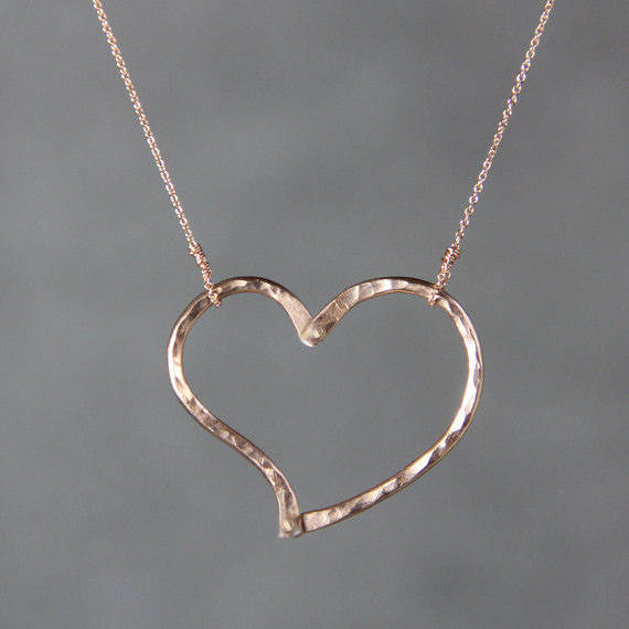 Textured hammered heart 14k rose gold simple pendant necklace bridesma textured hammered heart 14k rose gold simple pendant necklace bridesmaids gifts free us shipping handmade anni mozeypictures Image collections