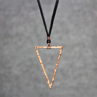 Textured hammered triangle copper simple pendant necklace Bridesmaids gifts Free US Shipping handmade Anni Designs - Anni Designs