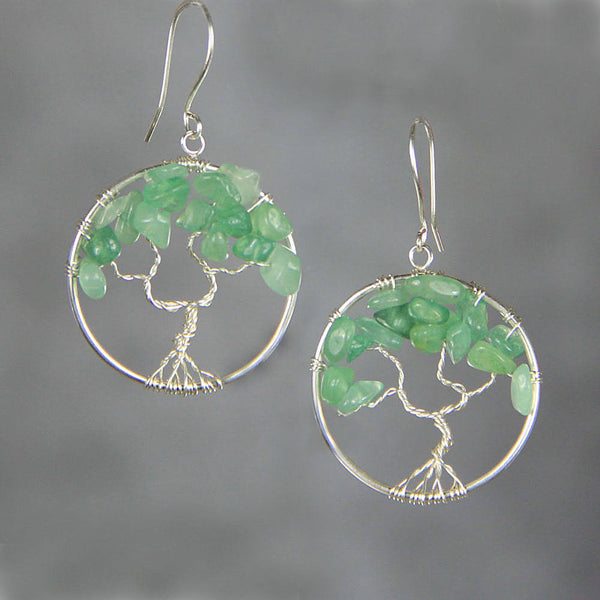 Tree of life jade hoop dangle earrings Bridesmaids gifts Free US Shipping handmade Anni Designs - Anni Designs