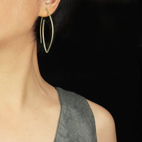Sterling silver Minimal oval hoop earrings   Free US Shipping handmade Anni designs - Anni Designs