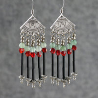 Green jade burgundy dangling chandelier earrings Bridesmaid gifts Free US Shipping handmade Anni designs - Anni Designs