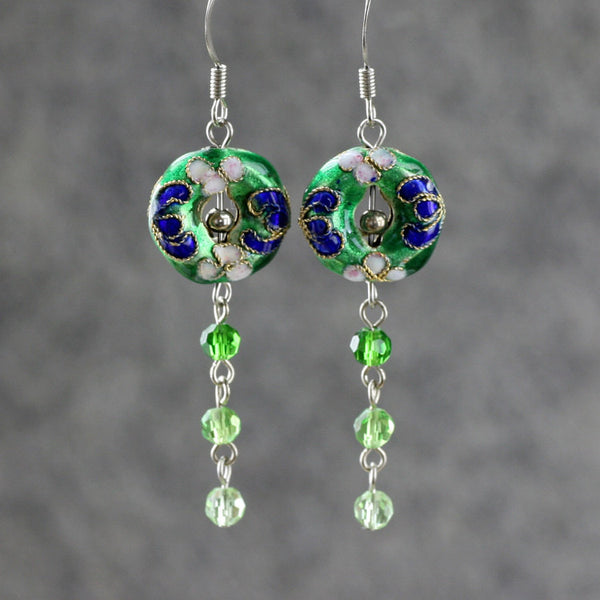 Green Cloisonne Chinese dangling earrings Bridesmaids gifts Free US Shipping handmade anni designs - Anni Designs