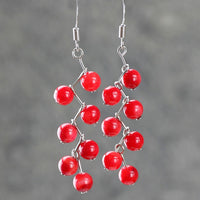 Red coral bead lariat necklace Bridesmaid gifts Free US Shipping handmade Anni designs - Anni Designs