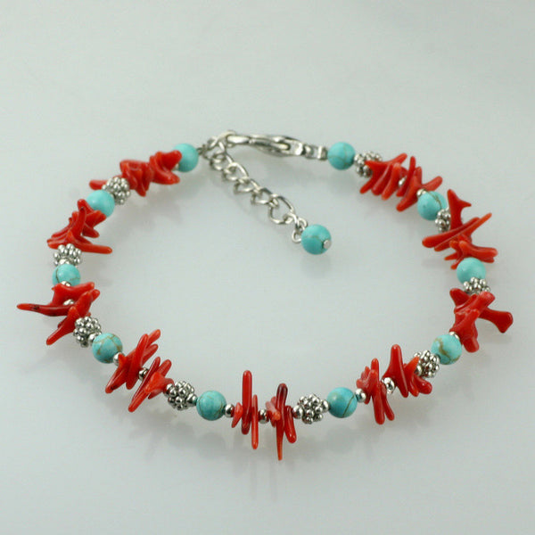 Turquoise coral beaded bracelet Bridesmaid gifts Free US Shipping handmade Anni designs - Anni Designs