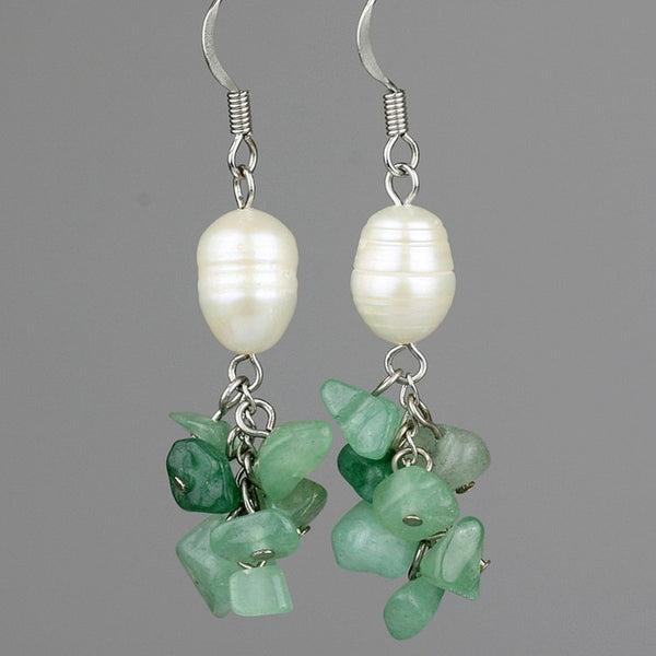 Jade Pearl dangling chandelier earrings Bridesmaid gifts Free US Shipping handmade Anni designs - Anni Designs