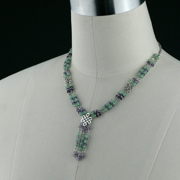 Jade lavender beaded lariat Irish knot necklace Bridesmaids gifts Free US Shipping handmade anni designs - Anni Designs