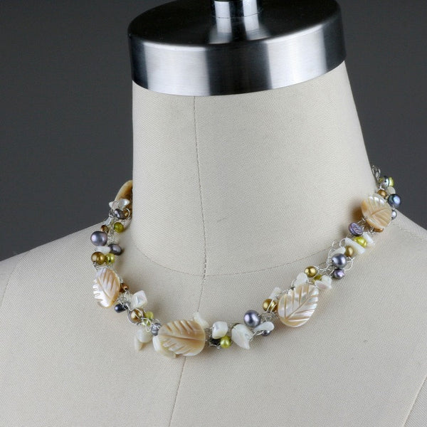 Shell pearl crochet wiring choker necklace Bridesmaids gifts Free US Shipping handmade anni designs - Anni Designs