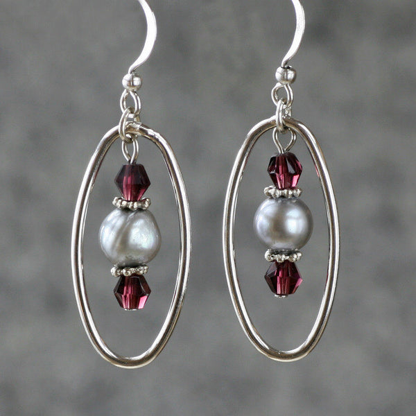 Gray pearl burgundy hoop dangle Bridesmaids gifts Free US Shipping handmade Anni Designs - Anni Designs