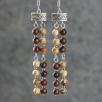 Gemstone earth brown jasper linear long dangling earrings Bridesmaids gifts Free US Shipping handmade Anni Designs - Anni Designs