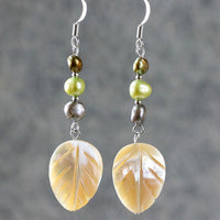 Pearl carved shell leaves dangling earrings Bridesmaids gifts Free US Shipping handmade anni designs - Anni Designs