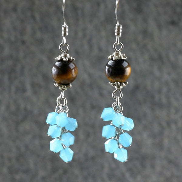 Tiger's eye teal crystal glass chandelier earrings Bridesmaids gifts Free US Shipping handmade Anni Designs - Anni Designs