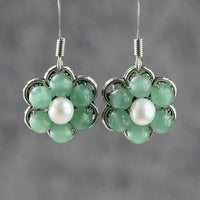 Jade flower dangle drop Earrings Bridesmaids gifts Free US Shipping handmade anni designs - Anni Designs