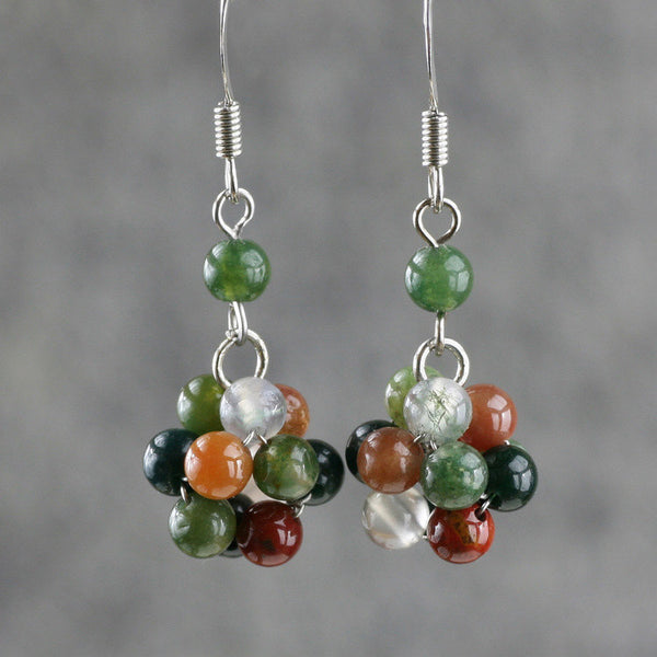Fancy Agate stone drop earrings Free US Shipping handmade Anni Designs - Anni Designs