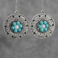 Turquoise flower earrings Bridesmaids gifts Free US Shipping handmade Anni Designs - Anni Designs