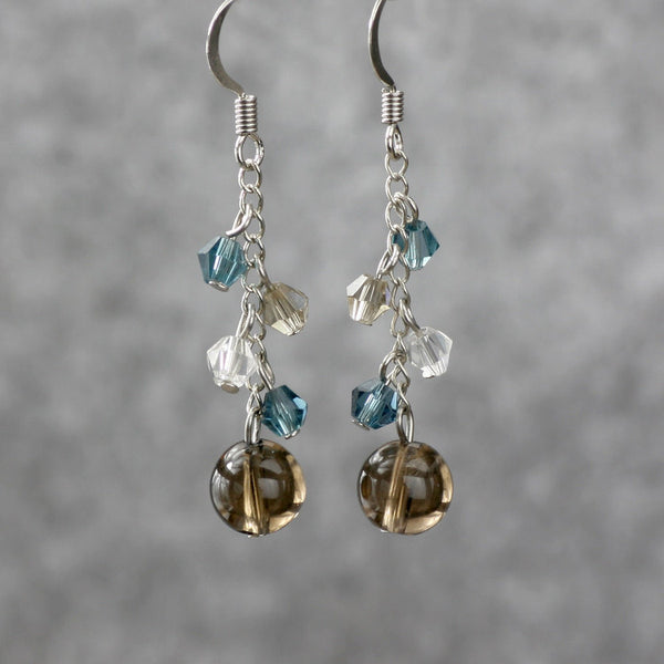 Smoky quartz dangling chandelier earrings Bridesmaids gifts Free US Shipping handmade Anni Designs - Anni Designs
