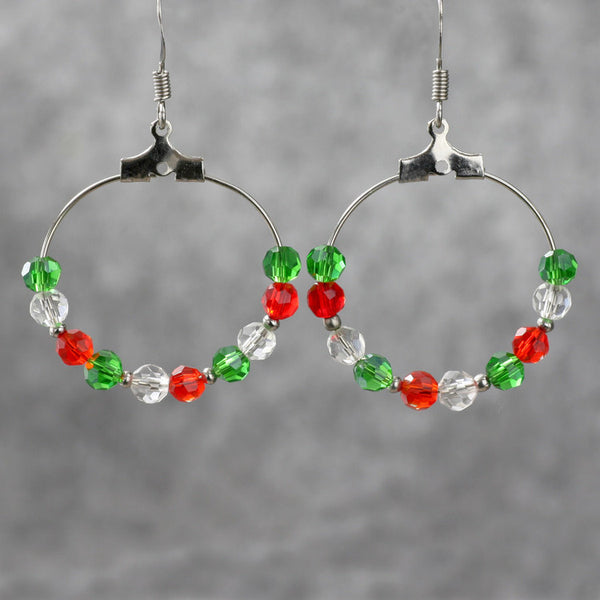Red green czech glass hoop earrings Free US Shipping handmade anni designs - Anni Designs